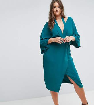 Asos Kimono Sliced Midi Dress