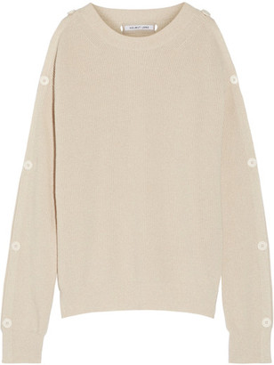 Helmut Lang - Cutout Button-detailed Cotton And Cashmere-blend Sweater - Beige $395 thestylecure.com