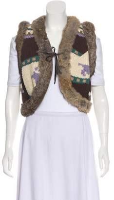 LaROK Fur Trimmed Wool Vest w/ Tags