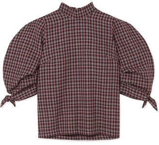 Paper London Rose Checked Wool-blend Top - Burgundy
