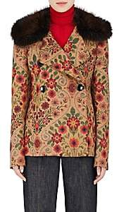 Derek Lam WOMEN'S MINK-FUR-COLLAR TAPESTRY PEACOAT - BEIGE/TAN SIZE 38 IT