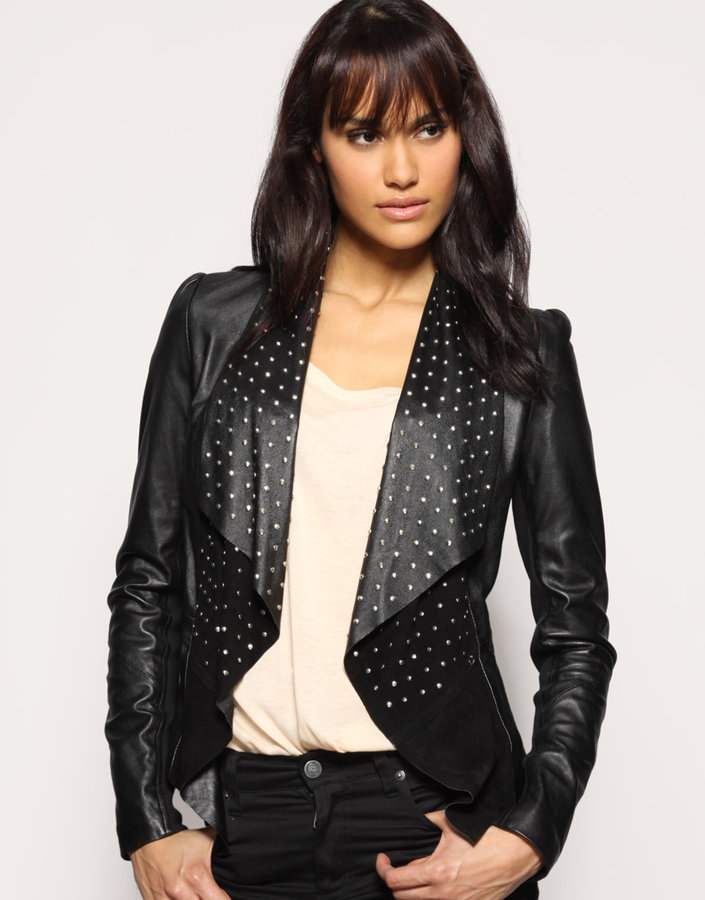 Oasis Studded Waterfall Frill Leather Jacket