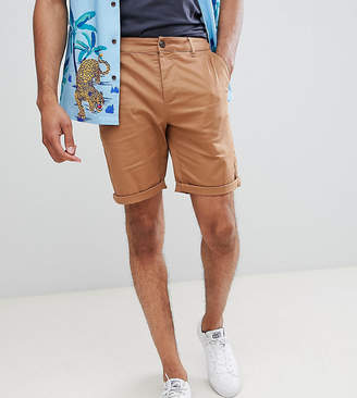 Asos DESIGN Tall slim chino shorts in camel