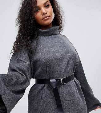 Asos DESIGN Curve high neck rib sweat dress with belt