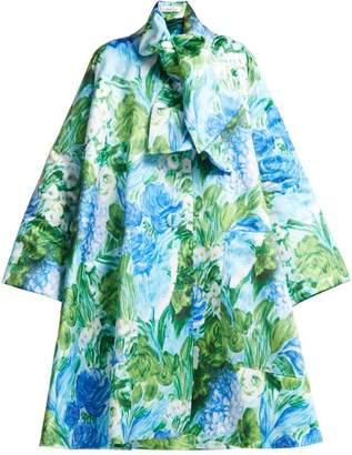 Richard Quinn - Oversized A Line Floral Print Satin Coat - Womens - Blue Print