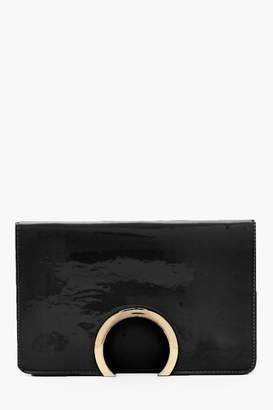 boohoo Metal Circle Patent And PU Mix Clutch