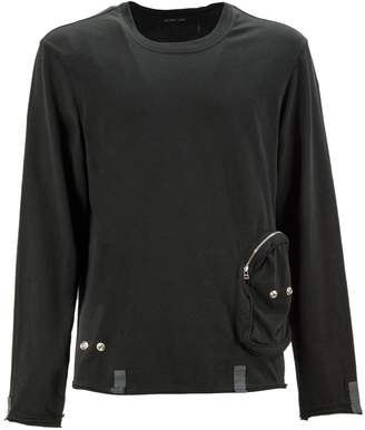 Helmut Lang Black Cotton T-shirt With Pounch Detail.