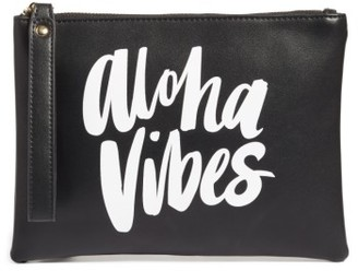 Ki-Ele Aloha Vibes Faux Leather Wristlet - Black $38 thestylecure.com