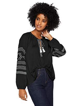 Lucky Brand Women's Embroidered Print Peasant TOP