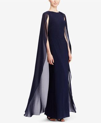 Lauren Ralph Lauren Georgette-Cape Jersey Gown $195 thestylecure.com