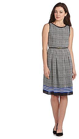 Jones New York Collection Pleated Plaid Dress