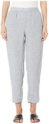 Eileen Fisher Yarn-Dyed Handkerchief Organic Linen Slouchy Ankle Pants