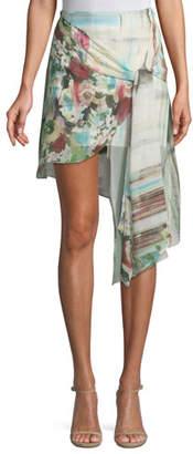 Haute Hippie French Riviera Printed Wrap Mini Skirt