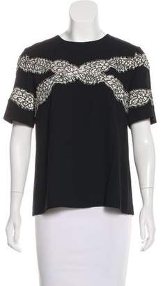 Wes Gordon Lace-Accented Short Sleeve Top