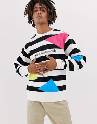 Billionaire Boys Club jumble striped sweatshirt in white