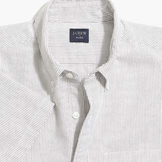 J.Crew Factory Slim-fit short-sleeve flex oxford cotton shirt in stripe
