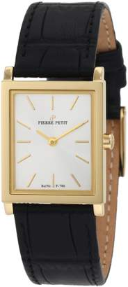 Pierre Petit Women's P-790C Serie Nizza Yellow Gold PVD Square Case Leather Watch