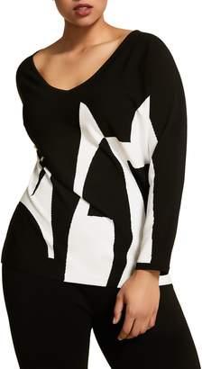 Marina Rinaldi Artista Letter Pattern Sweater
