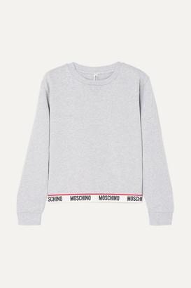 823b81c465 Moschino Intarsia-trimmed Stretch-cotton Jersey Sweatshirt - Gray