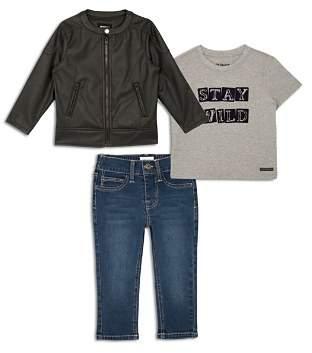 Hudson Boys' Faux Leather Biker Jacket, Stay Wild Graphic Tee & Jeans Set - Little Kid