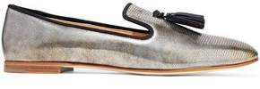 Giuseppe Zanotti Dalila Metallic Lizard-Effect Leather Slippers