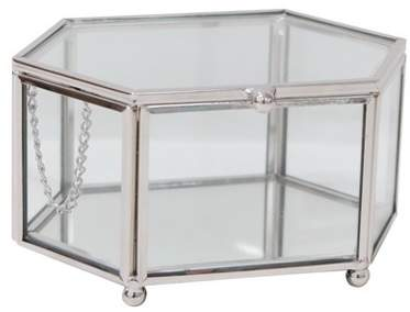 88 Main Hexagon Glass Jewelry Box Glass/ Polished Nickel - 88 Main®
