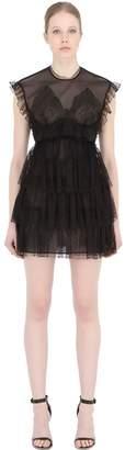 Francesco Scognamiglio Ruffled Sheer Tulle Mini Dress