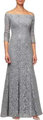 Alex Evenings Lace Off the Shoulder Evening Dress