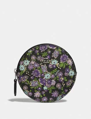 Coach Round Coin Case With Posey Cluster Print