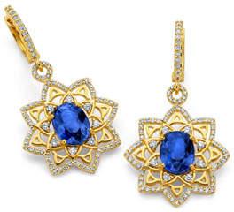 Buddha Mama 20k Gold Mandala Sapphire & Diamond Drop Earrings