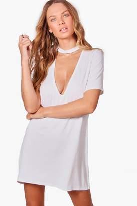 boohoo Millie Extreme Plunge Choker T-Shirt Dress