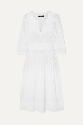 Isabel Marant Eline Embroidered Cotton-voile Midi Dress - White