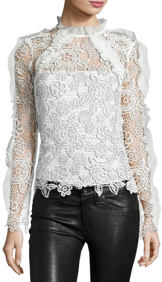 Self-Portrait Cutout Floral Guipure Lace Top 2