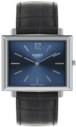 Henry London Heritage Square Silver Stainless Steel Case Blue Dial and Black Leather Strap