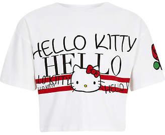River Island Girls white Hello Kitty cropped T-shirt