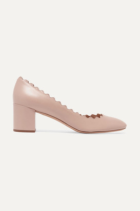 Chloé Lauren Scalloped Leather Pumps - Neutral