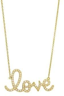 Sydney Evan Diamond and 14K Yellow Gold Large Love Pendant Necklace
