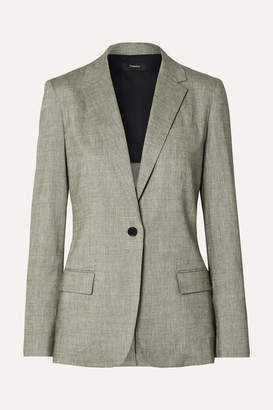 Theory Organic Linen-blend Blazer - Gray green
