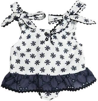 La Stupenderia Floral Printed Cotton Gauze Bodysuit