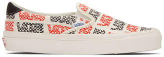 Vans White and Red Logo Checkerboard OG Slip-On 59 LX Sneakers