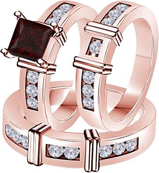 Express Star Retail 2.10 Carat (Ctw) Synthetic Red Garnet Princess Cut & Round CZ Diamond 14k Rose Gold Over Engagement His & Her Wedding Engagement Trio Ring Set in Shipping