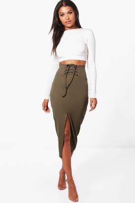 boohoo Anna Corset Waist Front Split Midi Skirt