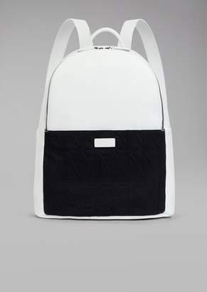 Giorgio Armani Backpack With Diamond Pattern Fabric Insert