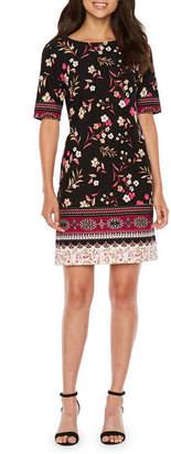 R & K Originals Short Sleeve Floral Sheath Dress