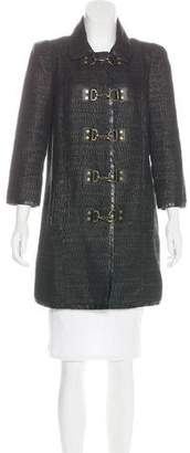Tibi Leather-Trimmed Woven Coat