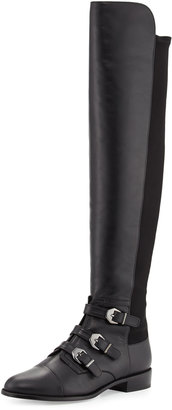 Stuart Weitzman Renegade Leather Over-The-Knee Boot, Black $599 thestylecure.com