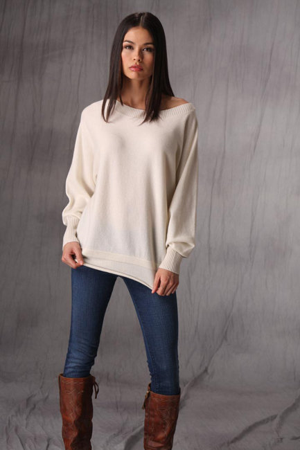 B Chyll Rebecca Cashmere Sweater in Black, Brown, Ivory and Taupe