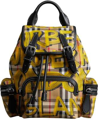 Burberry The Small Crossbody Rucksack in Graffiti Print Vintage Check