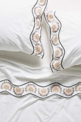 Anthropologie Embroidered Cypress Sheet Set