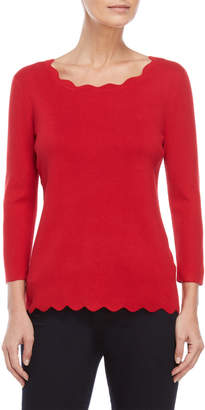 Cable & Gauge Scalloped Quarter Sleeve Sweater